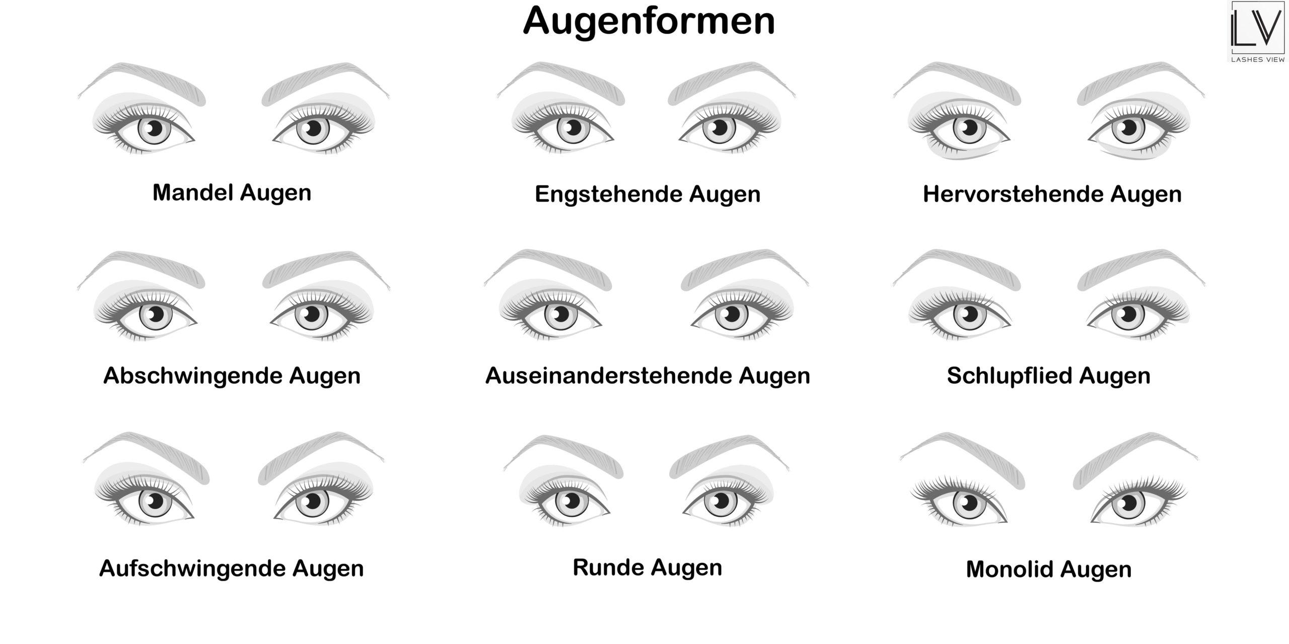 Wimperguide …. unser kleiner Berater hilft dir schnell die passenden Wimpern zu deinem Augentyp zu finden.
